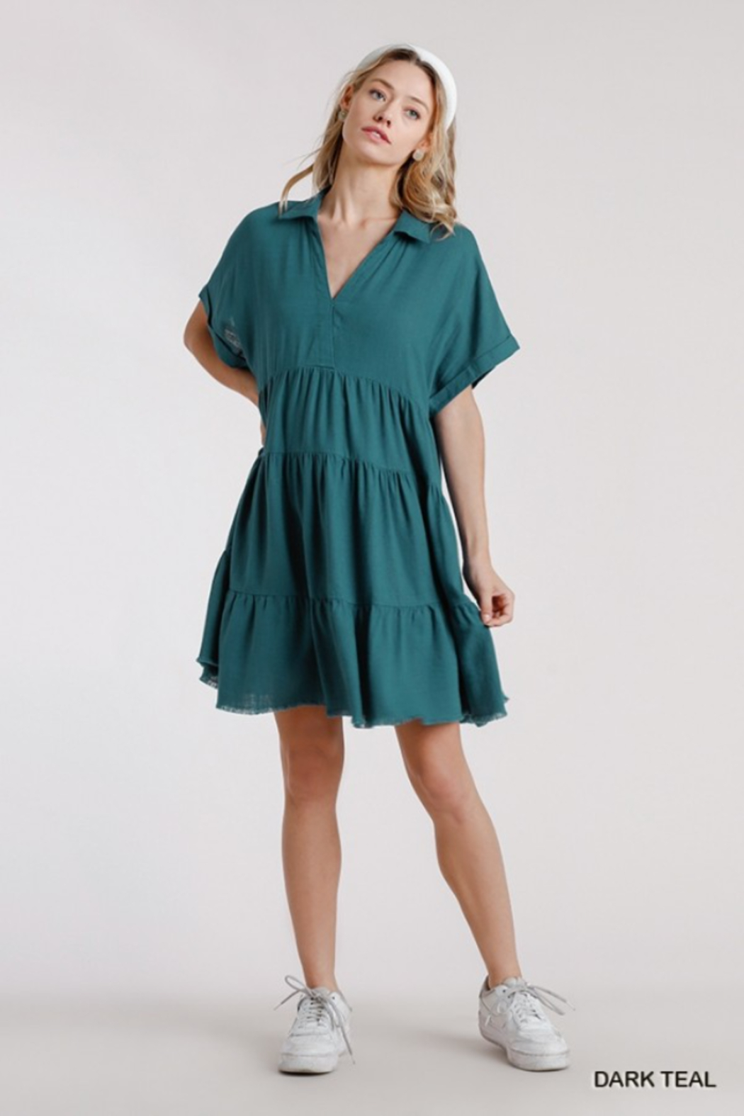 umgee  LINEN SHORT SLEEVE TIERED DRESS - Front Cropped Image