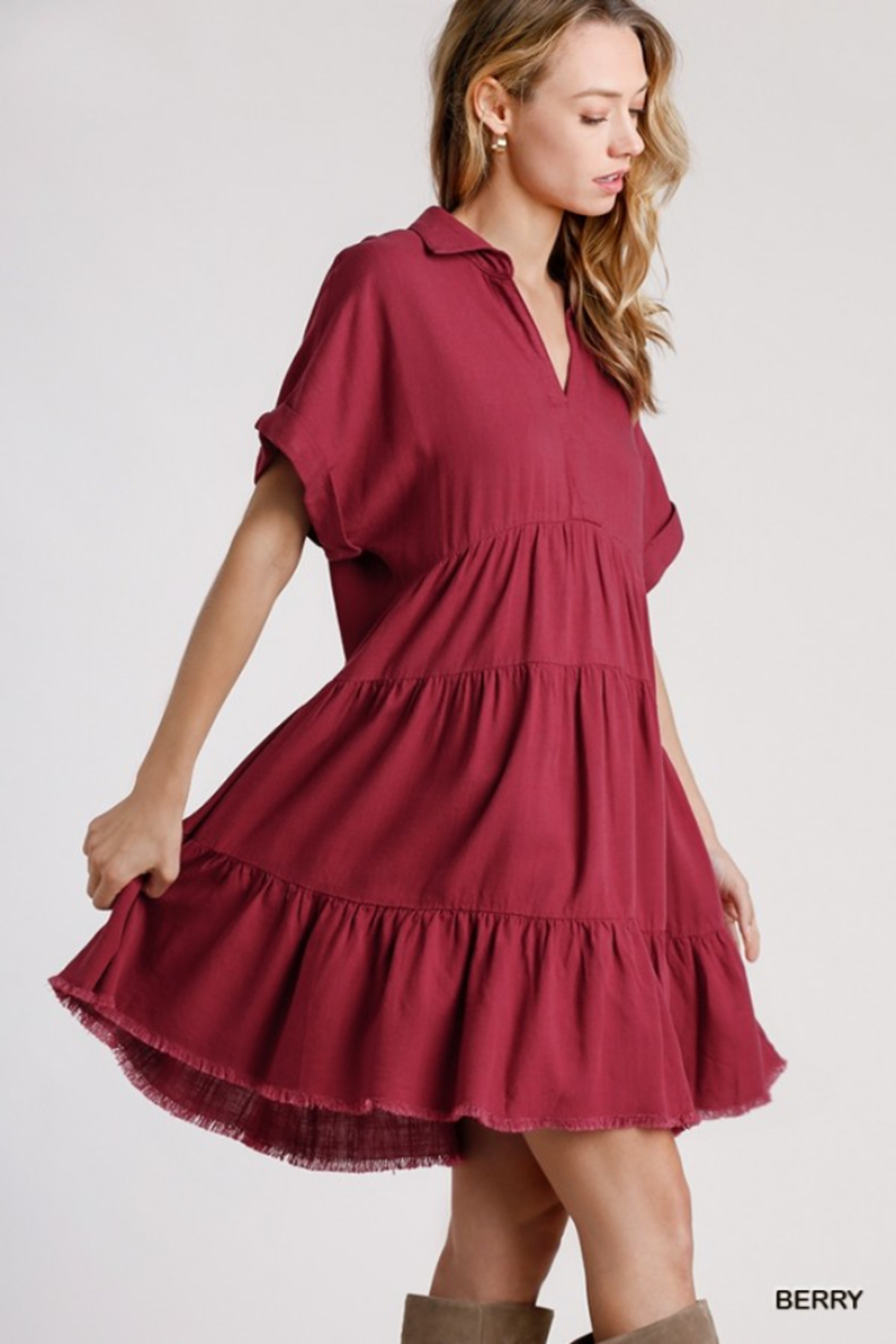umgee  LINEN SHORT SLEEVE TIERED DRESS - Front Full Image