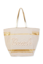 sun and sand Linen Shoulder Tote - Front cropped
