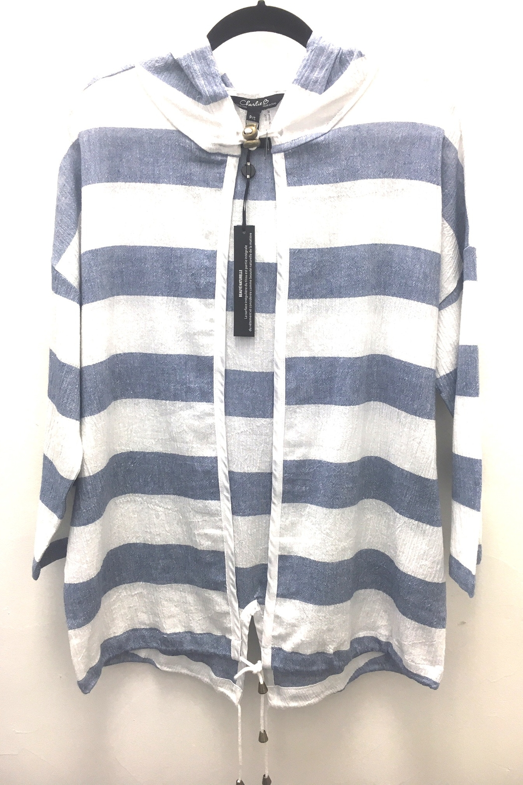 Charlie B Linen Stripe Hooded Jacket - Side Cropped Image