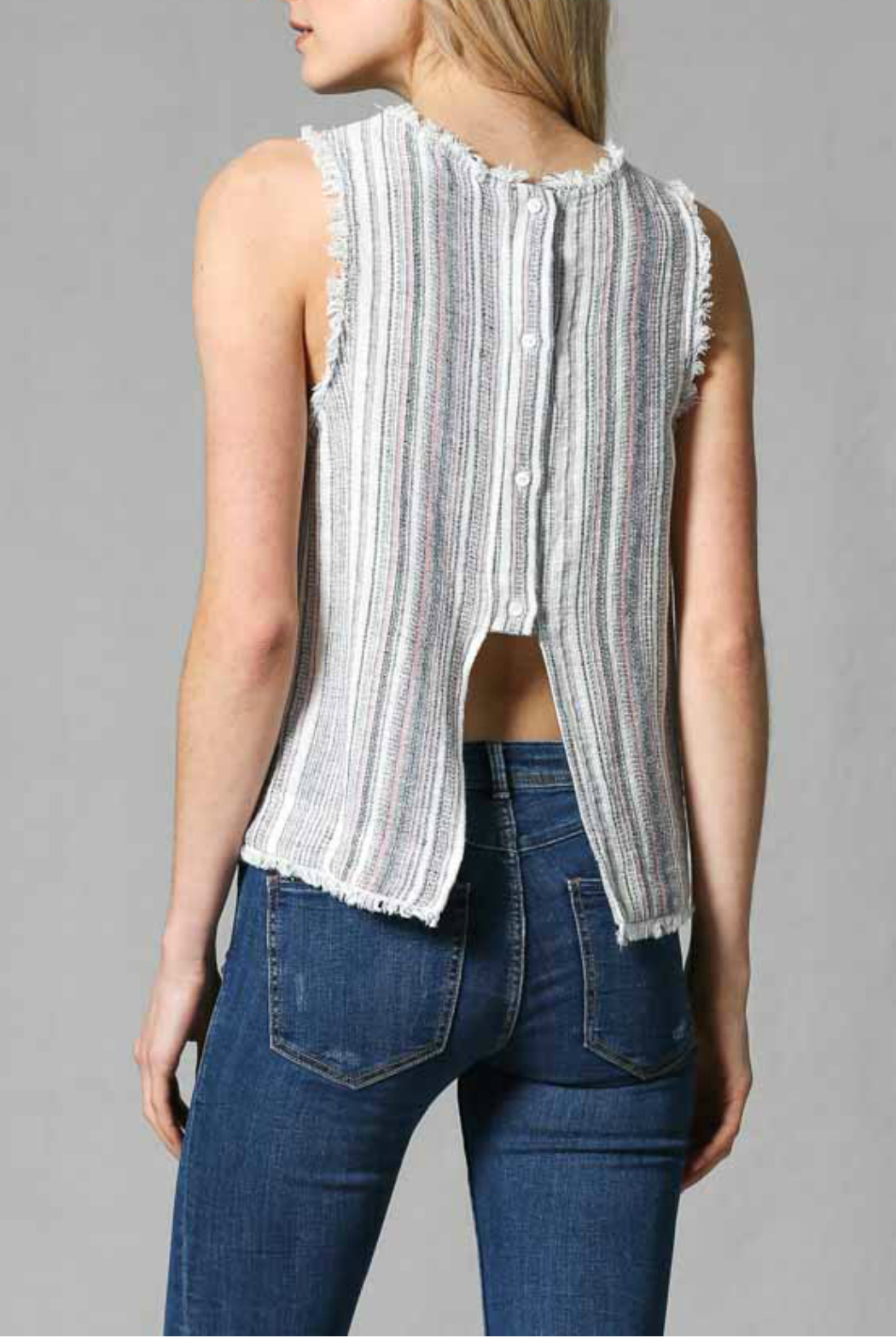 FATE by LFD Linen stripe top - Side Cropped Image