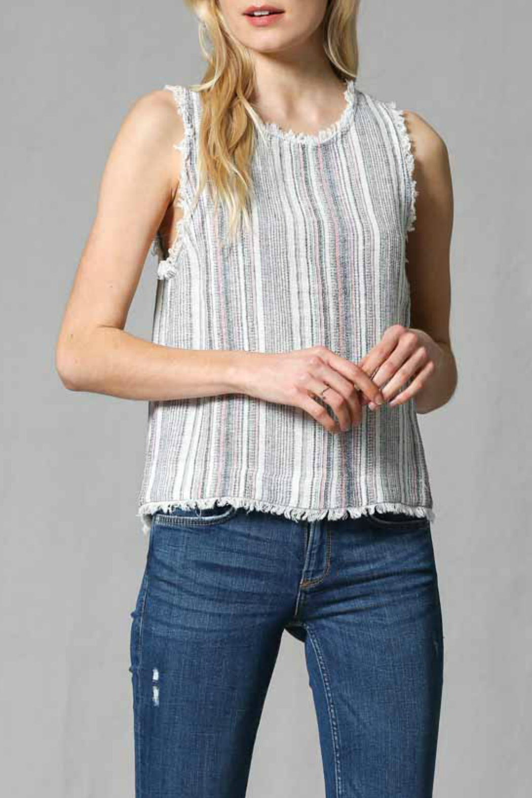 FATE by LFD Linen stripe top - Front Cropped Image