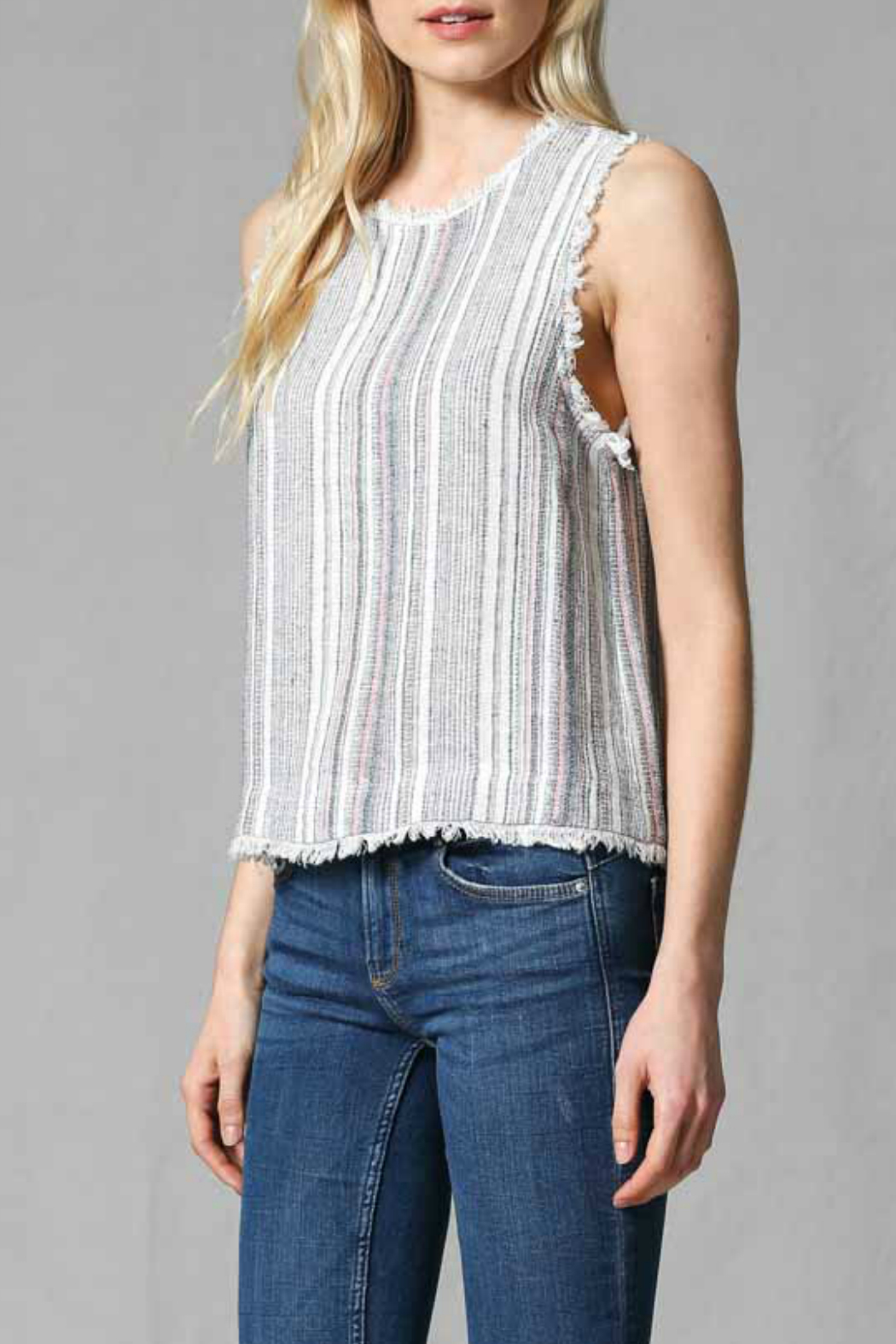 FATE by LFD Linen stripe top - Front Full Image