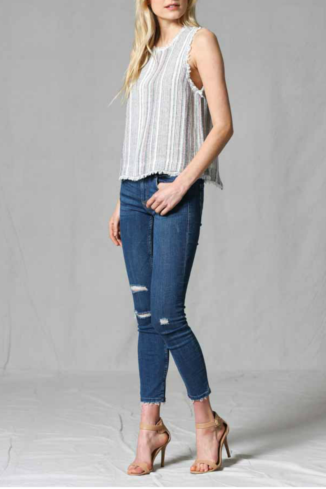FATE by LFD Linen stripe top - Back Cropped Image