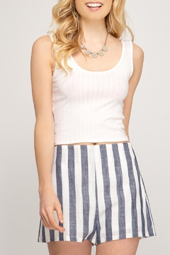 She + Sky Linen Striped Shorts - Product List Image