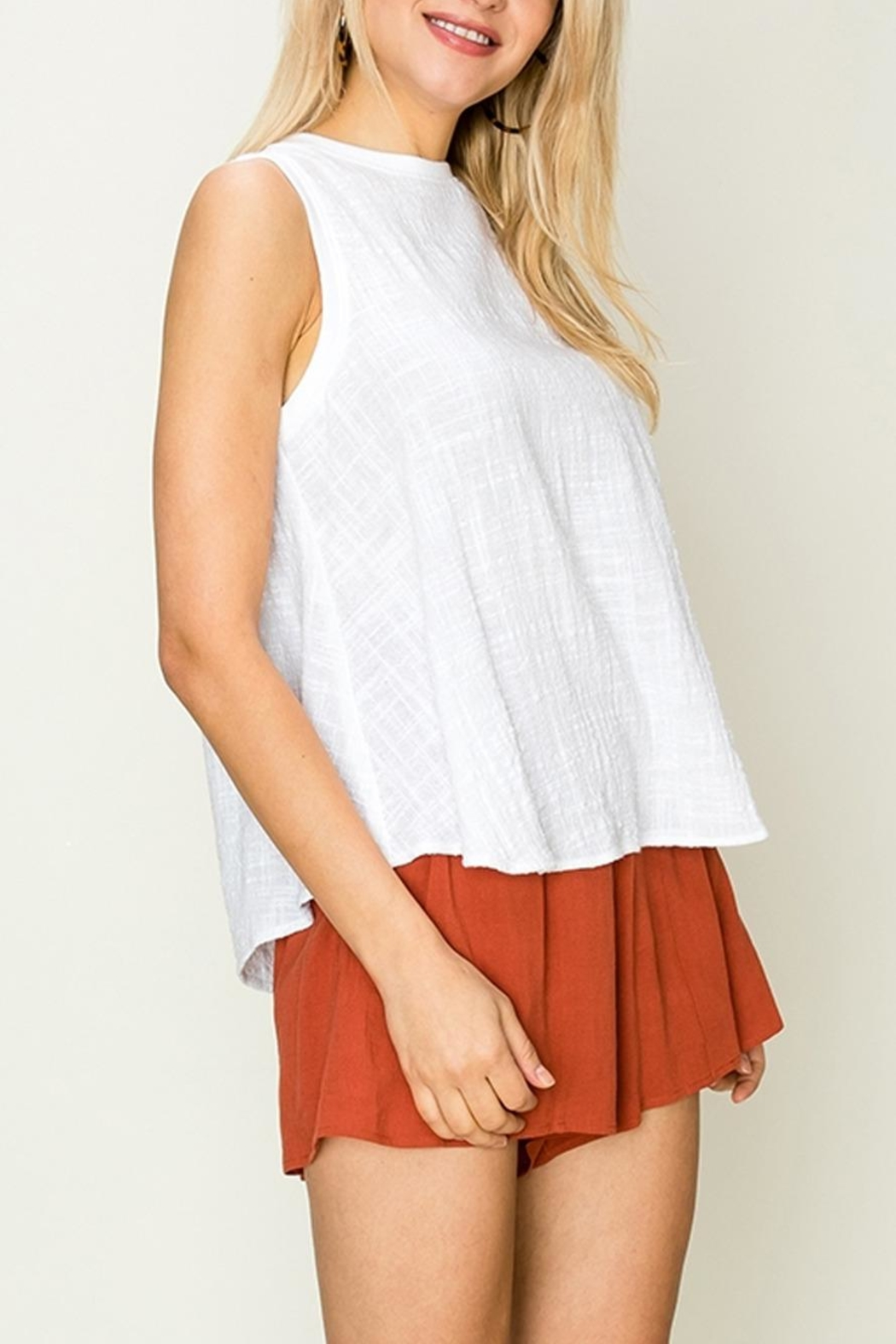fashion on earth Linen Swing Tank - Front Full Image