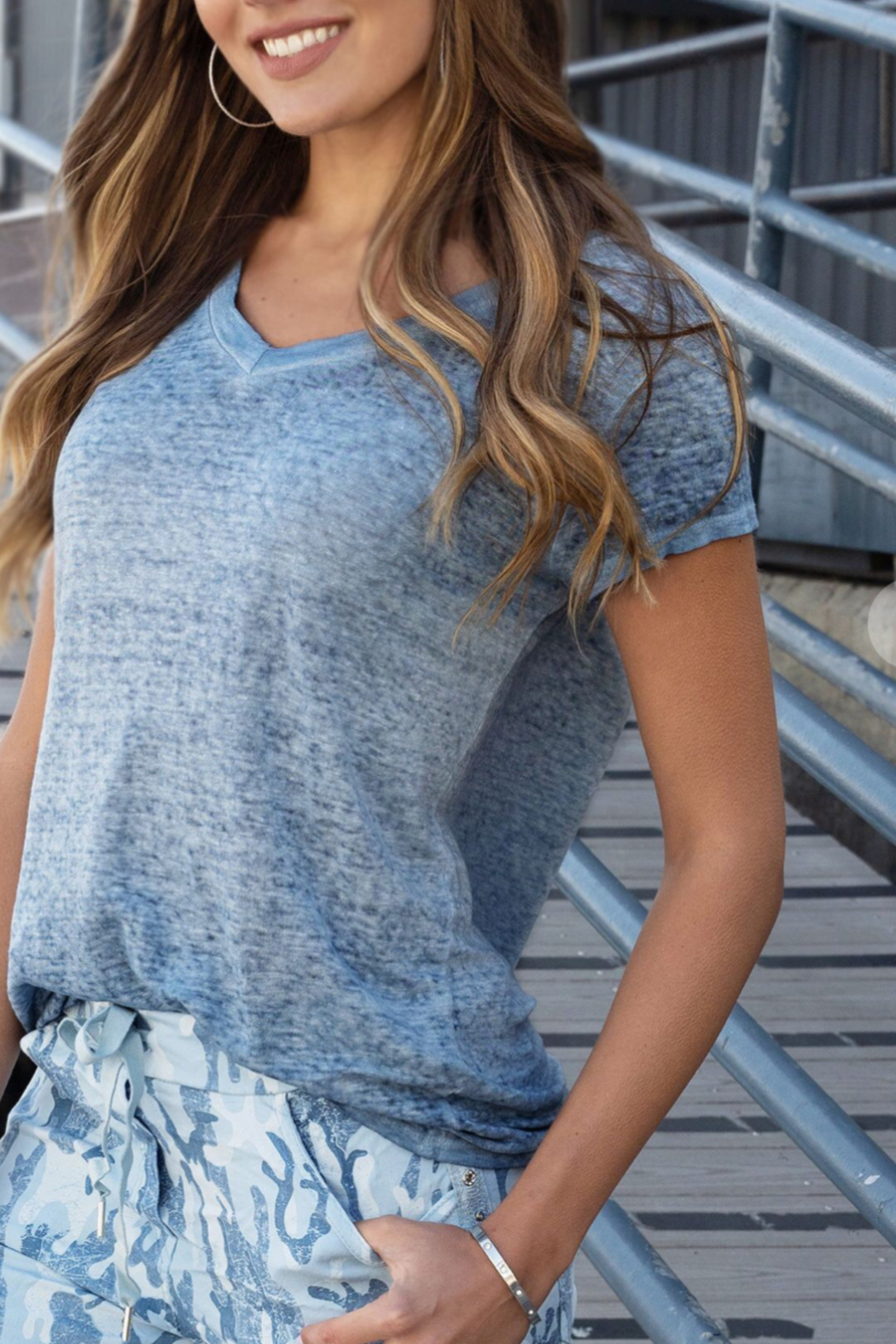 Venti 6 Linen T Shirts - Front Cropped Image