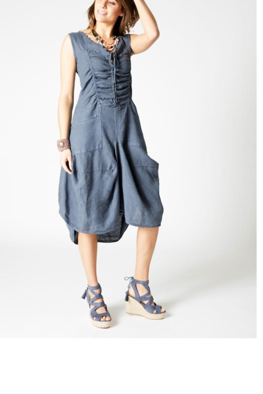 e0424869318 M made in Italy Linen Tie Dress from California by The Bag Lady ...