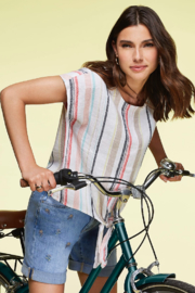 Charlie B. Linen Tie Front Blouse - Front cropped