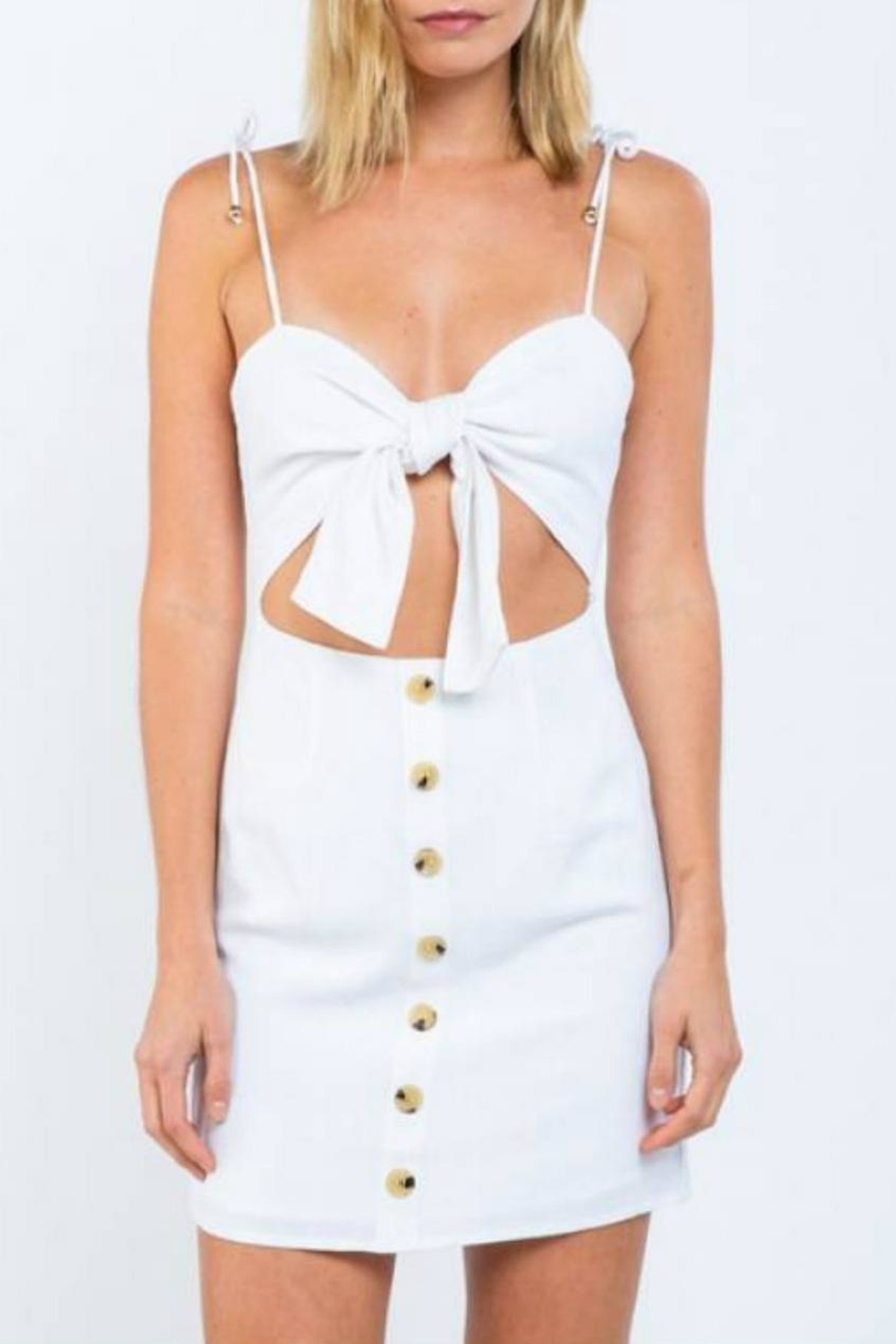 skylar madison Linen Tie-Front Dress - Front Cropped Image