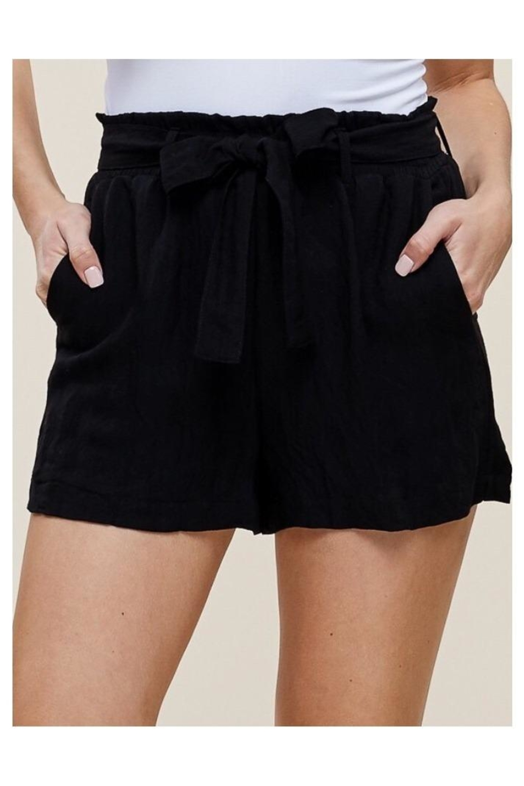 Polly & Esther Linen Tie-Front Shorts - Main Image