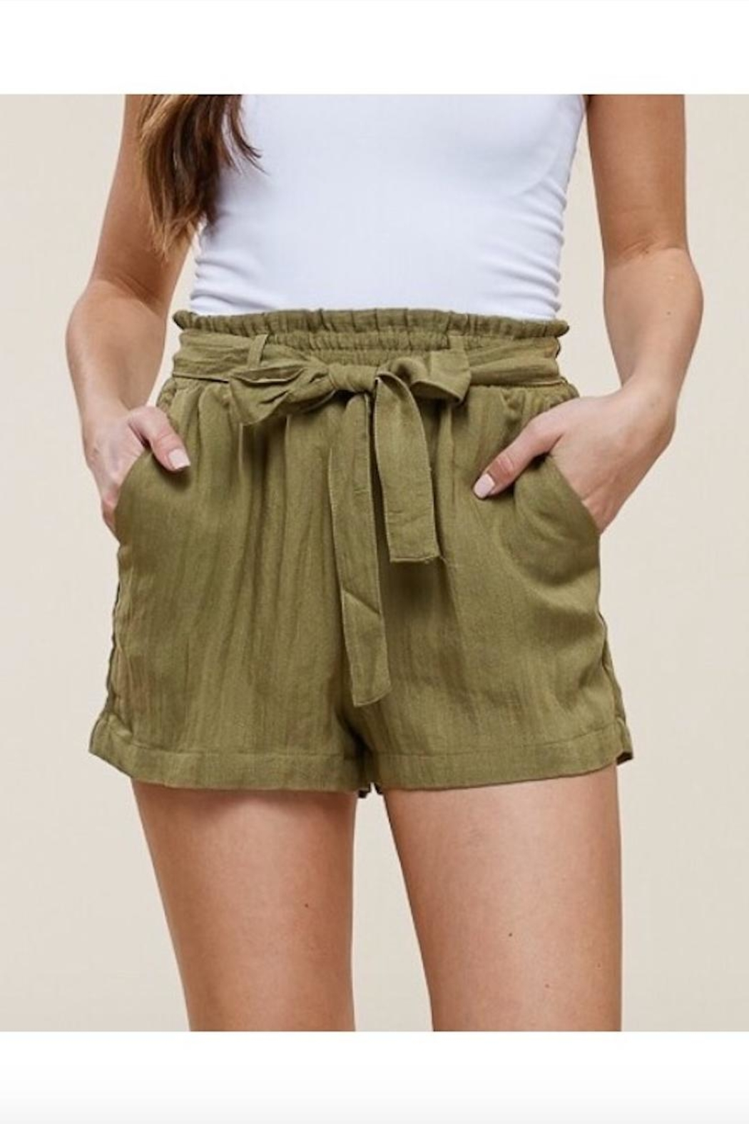 Polly & Esther Linen Tie-Front Shorts - Front Cropped Image