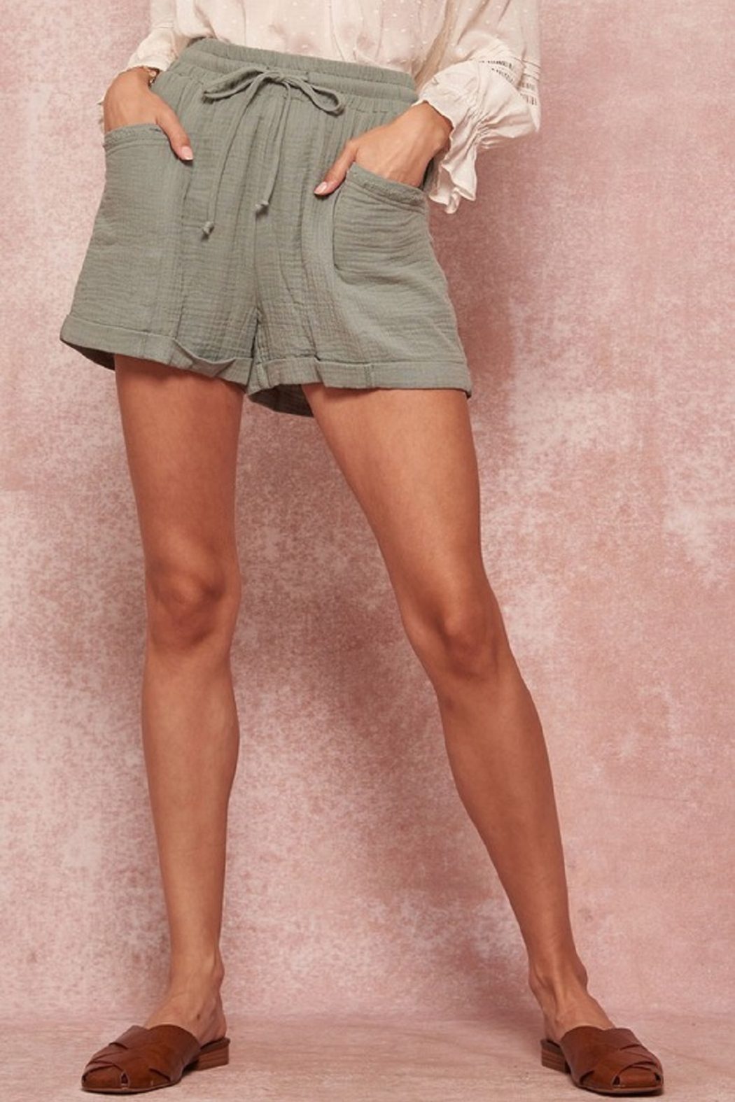 Promesa  Linen Tie Waist Shorts - Front Cropped Image