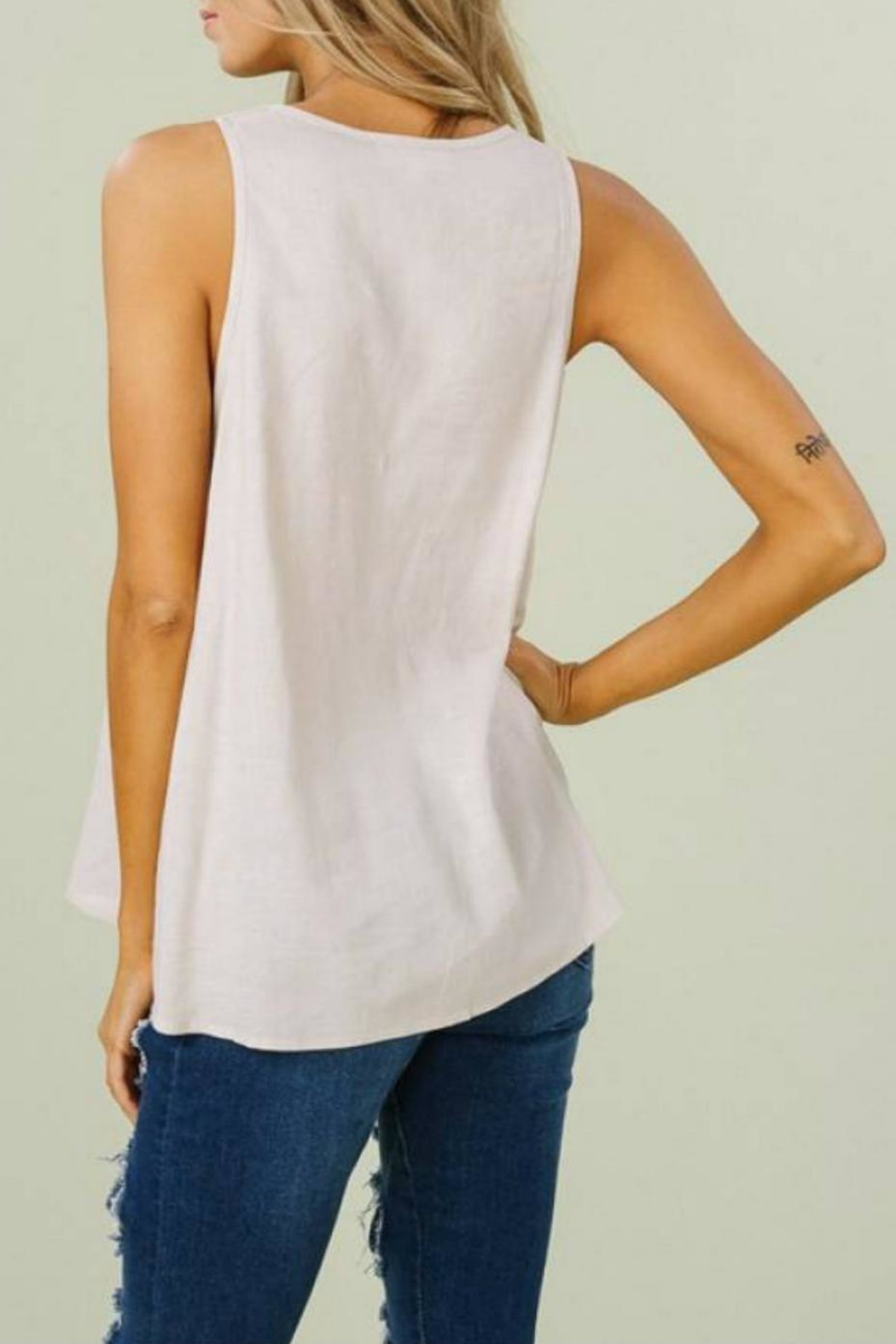 Listicle Linen V Tank - Side Cropped Image