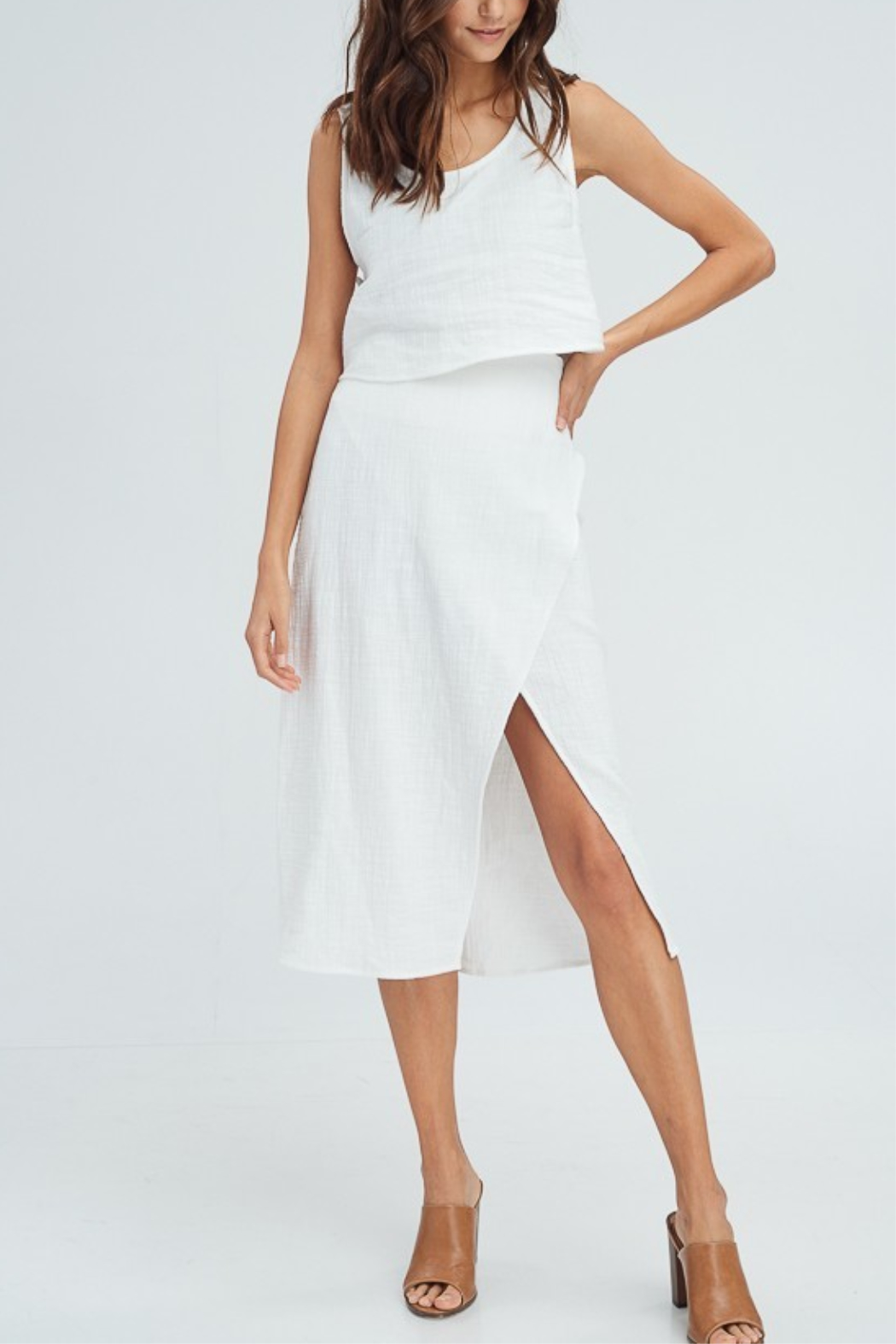 crescent Linen Wrap Skirt - Front Cropped Image