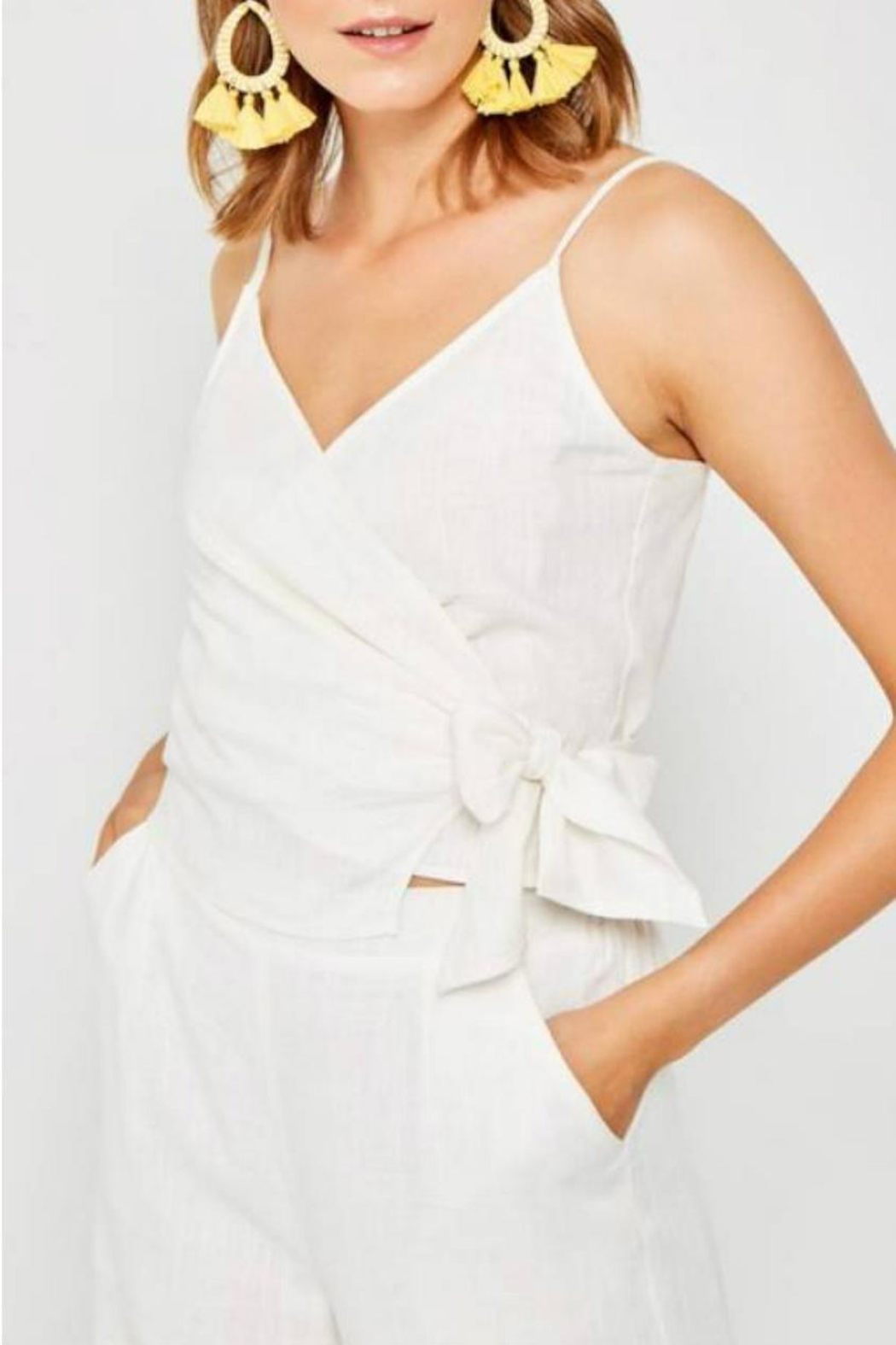 Hayden Los Angeles Linen Wrap Tank - Front Cropped Image