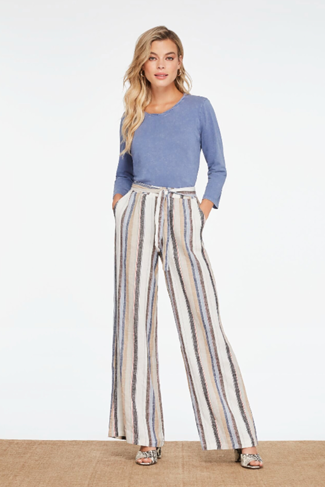 Charlie B. Linen Yarn Dye Flared Pants - Front Cropped Image