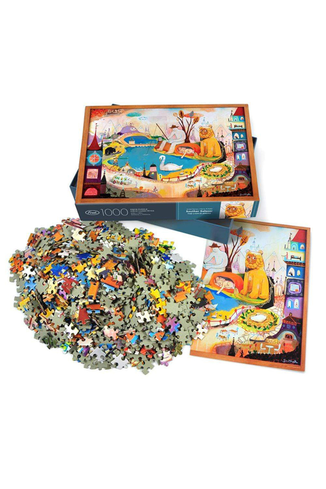 Fred Puzzles Lion is Awake 1000 Piece Puzzle - Front Full Image