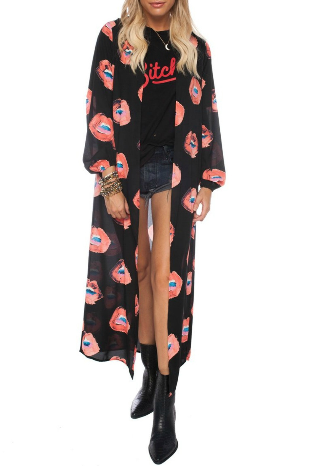 Buddy Love Lip Print Duster - Main Image
