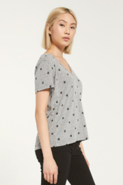 Z Supply  Lipa Skull V-Neck Tee - Front full body