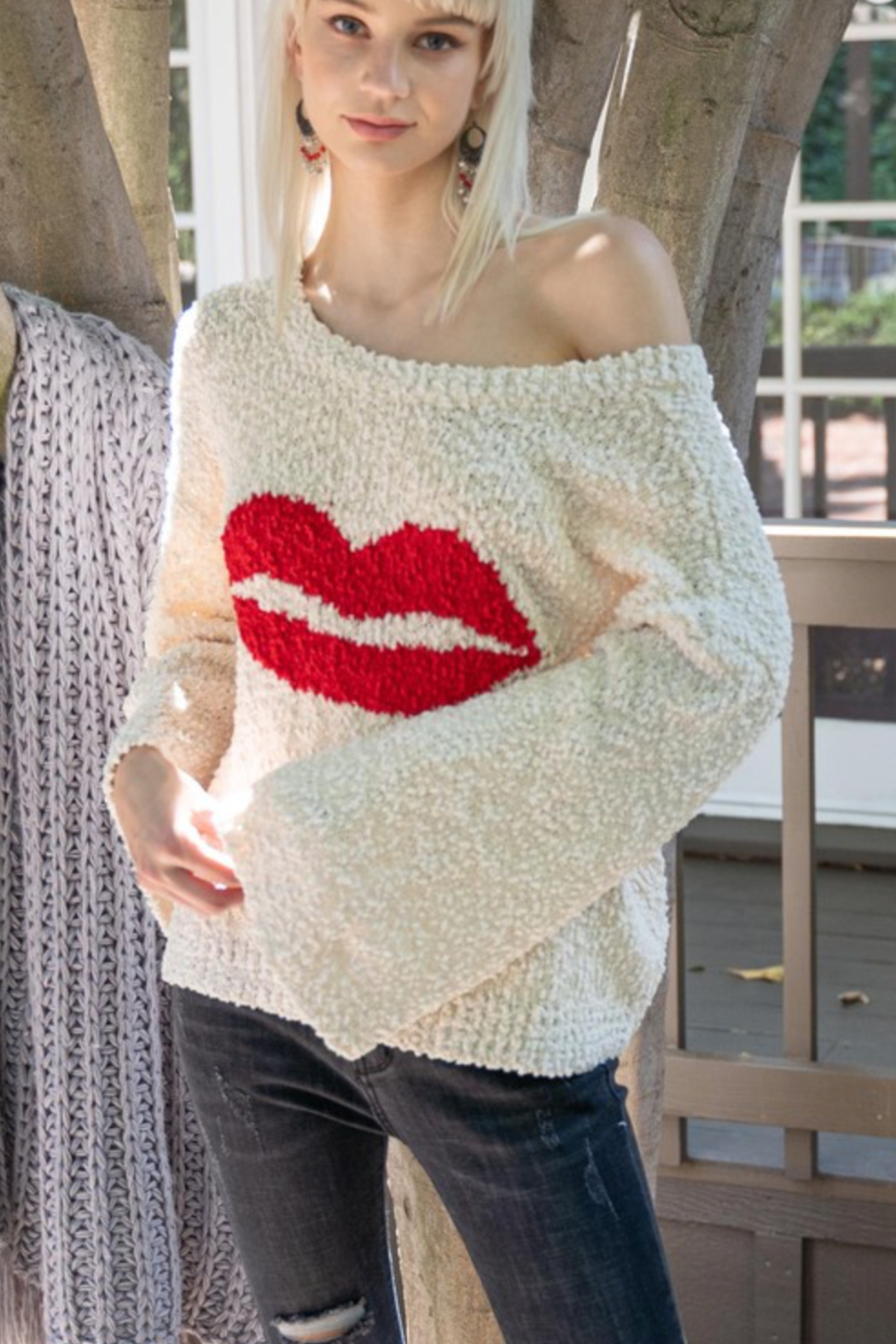 POL Lips Popcorn Sweater - Front Full Image