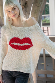 POL Lips Popcorn Sweater - Front cropped