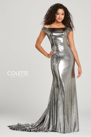 Colette Liquid Lamé Off-the-Shoulder Prom Dress, Magenta or Silver - Product Mini Image