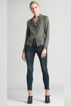 Clara Sunwoo Liquid Leather Biker Jacket - Olive - Product List Image