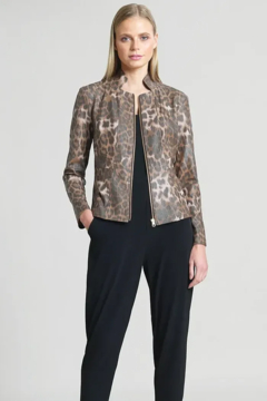 Clara Sunwoo Liquid Leather Slit Pocket Jacket - Cheetah - Product List Image