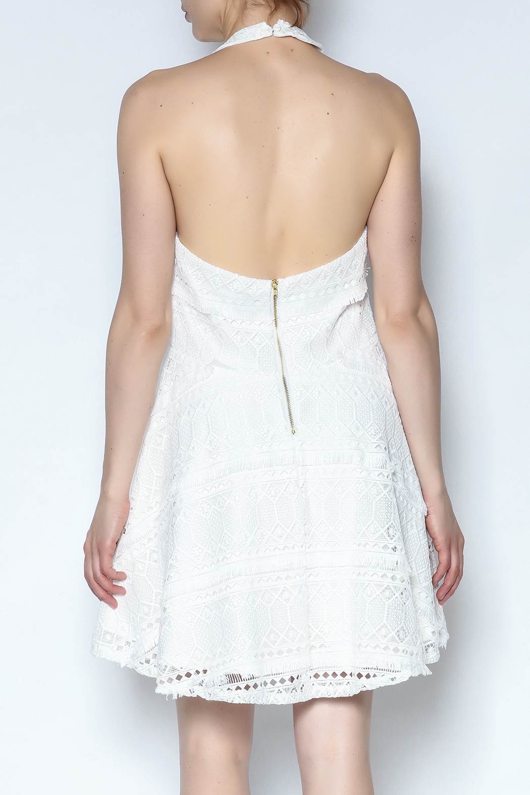 Lisa & Lucy Fringed Lace Halter - Back Cropped Image
