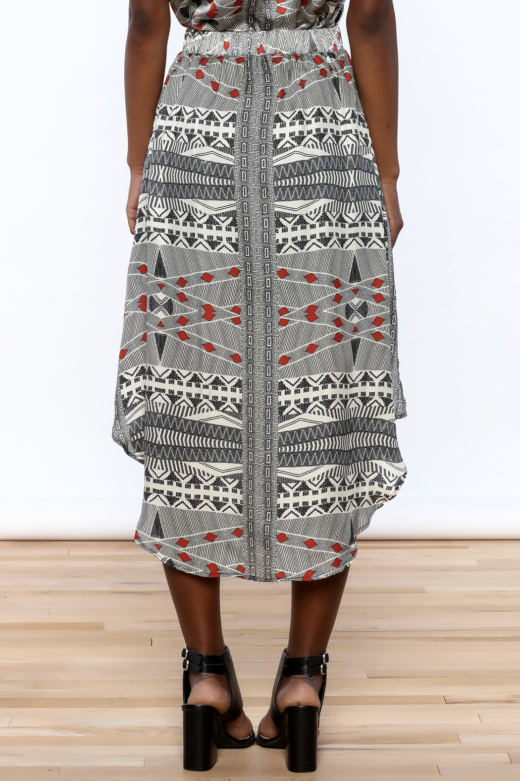 Lisa & Lucy Silk Midi Skirt - Back Cropped Image
