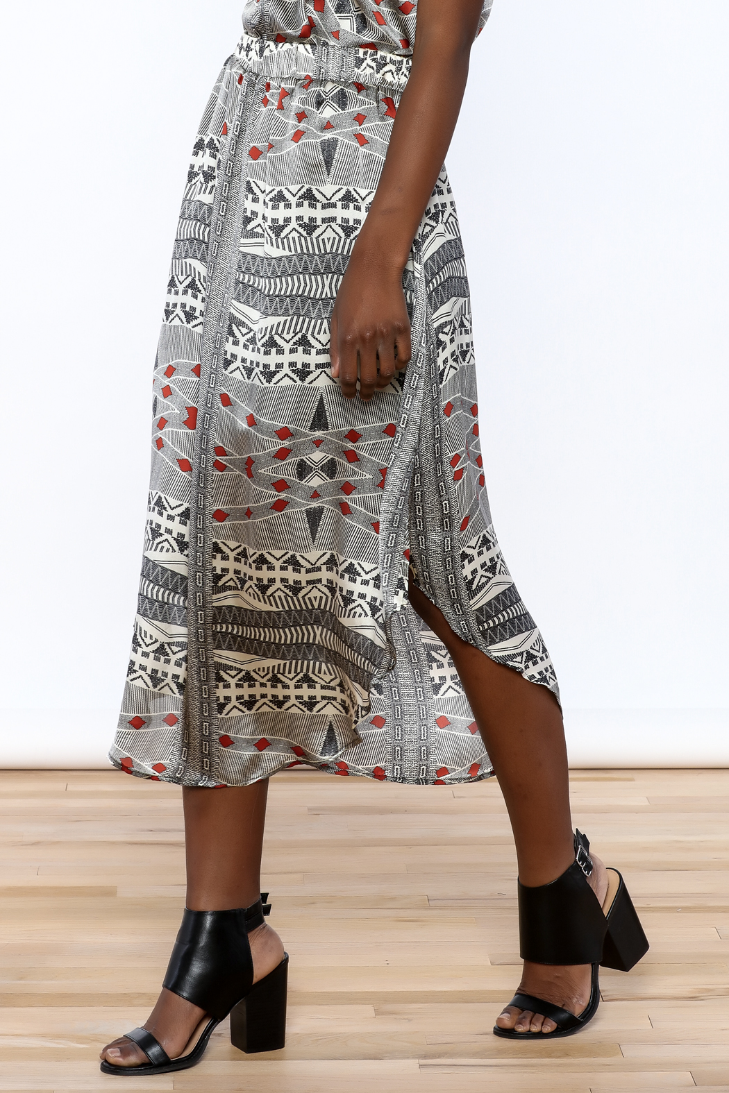 Lisa & Lucy Silk Midi Skirt - Front Cropped Image