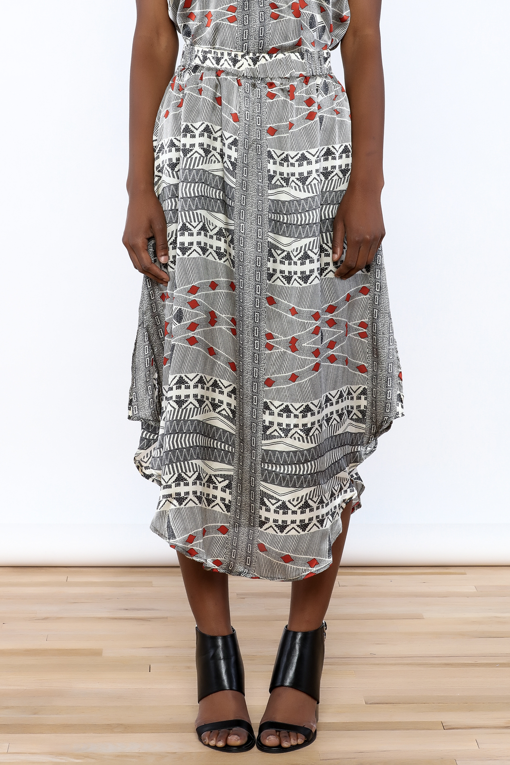 Lisa & Lucy Silk Midi Skirt - Side Cropped Image