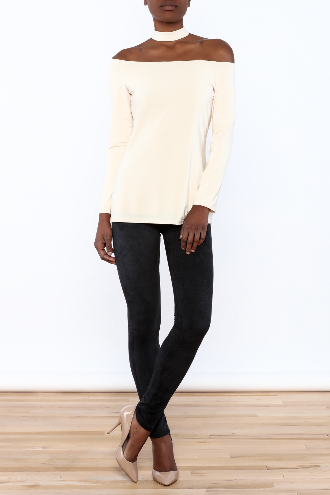 Lisa & Lucy Oyster Choker Top - Front Full Image