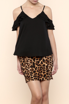 Shoptiques Product: Ruffled Cold Shoulder Tank