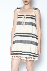 Lisa & Lucy Smocked Stripped Tassel Dress - Front cropped