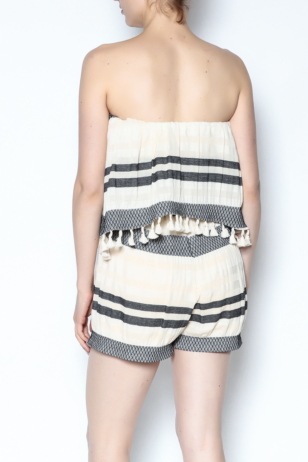 Lisa & Lucy Strapless Popover Romper - Back Cropped Image