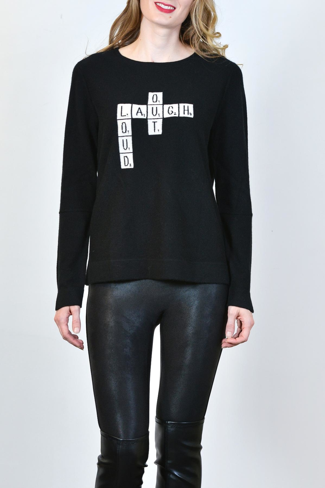 Lisa Todd Crossword Puzzle Cashmere Sweater - Front Cropped Image