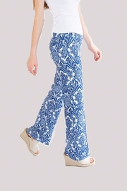 lisette L Blue Medallion Stretch Flare Pants - Product Mini Image