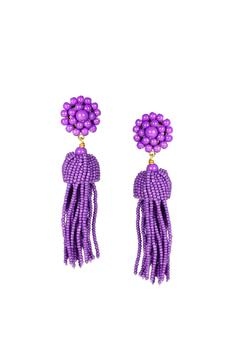 Lisi Lerch Purple Tassel Earrings - Product List Image