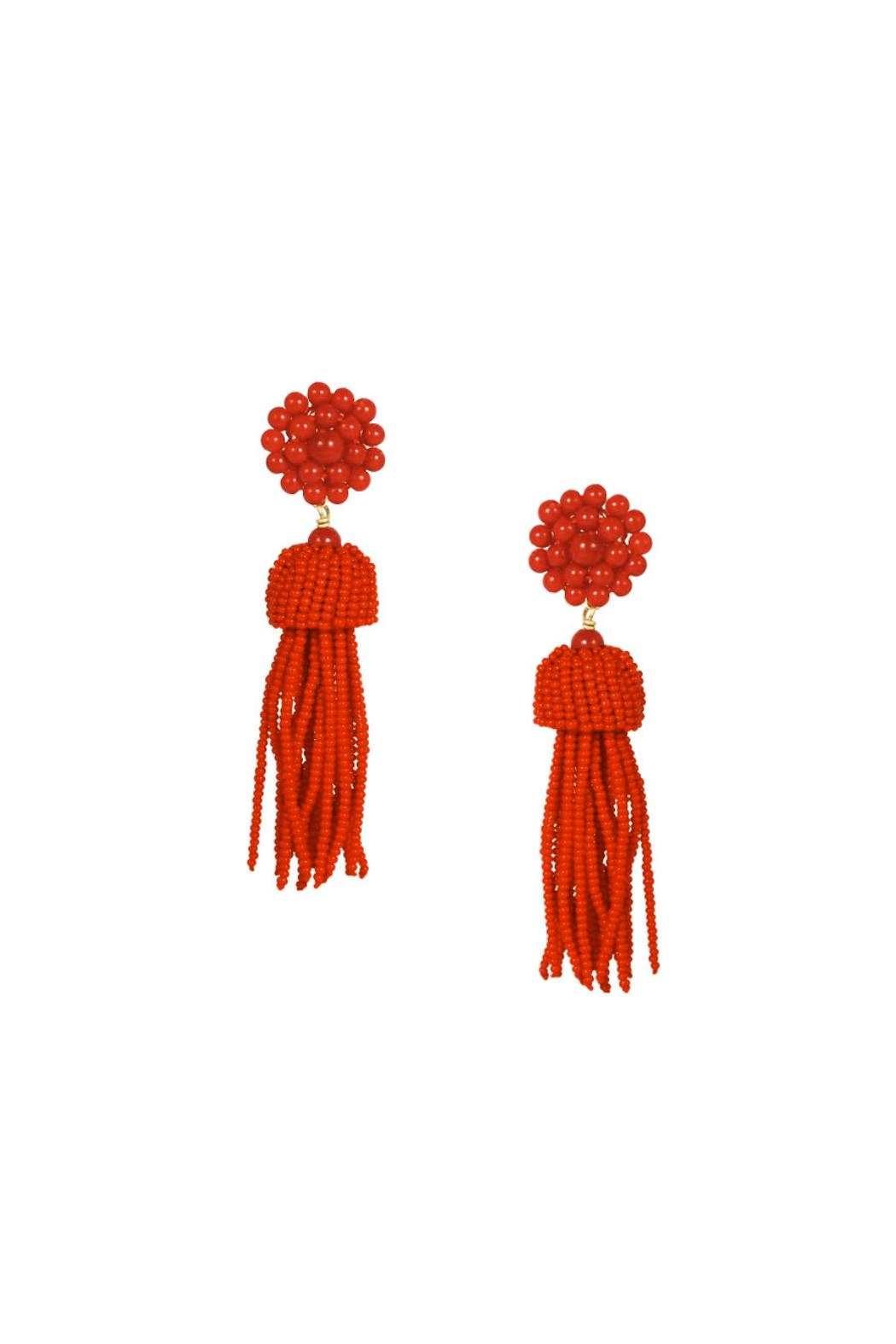 Lisi Lerch Red Tassel Earrings - Front Cropped Image
