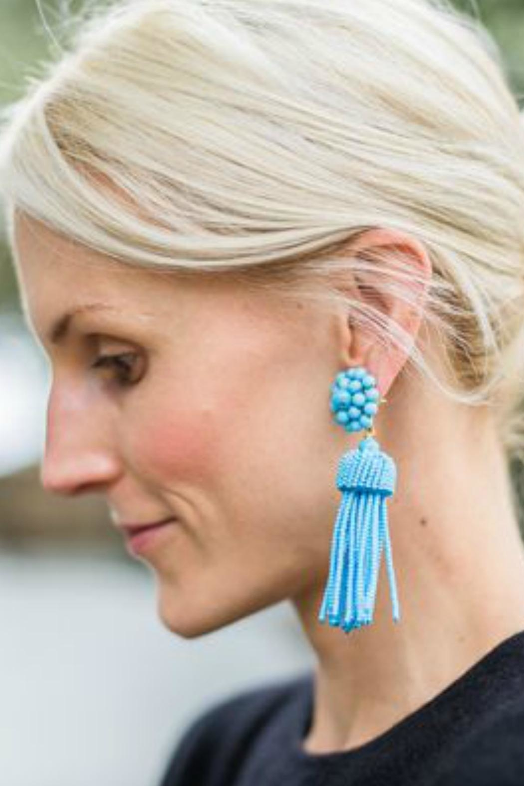 Lisi Lerch Turquoise Tassel Earrings - Side Cropped Image