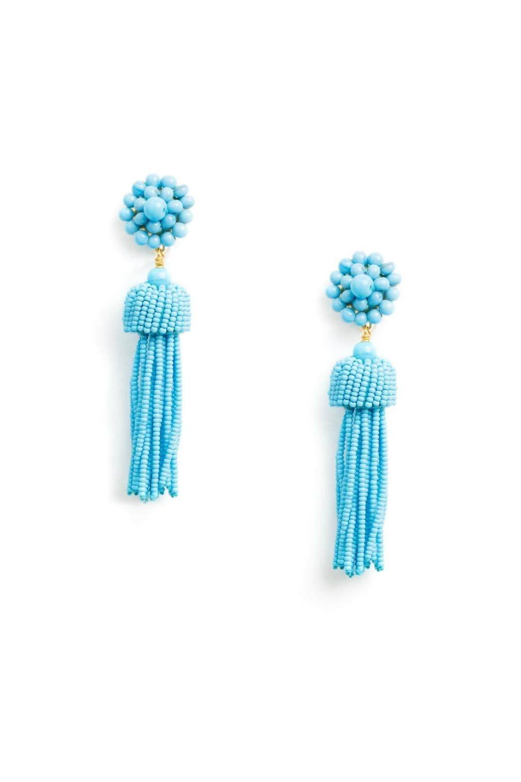 Lisi Lerch Turquoise Tassel Earrings - Front Cropped Image