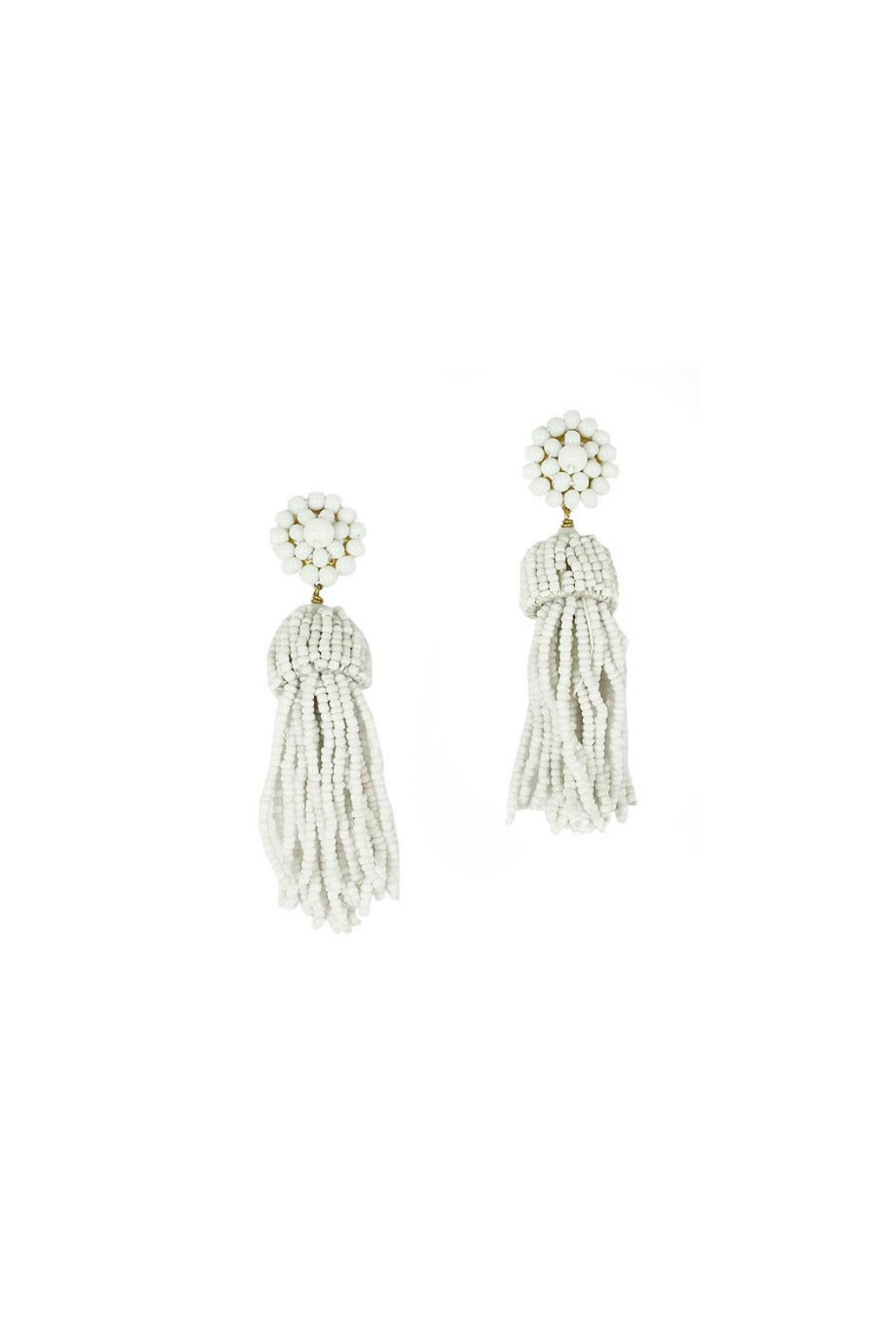 Lisi Lerch White Tassel Earrings - Front Cropped Image