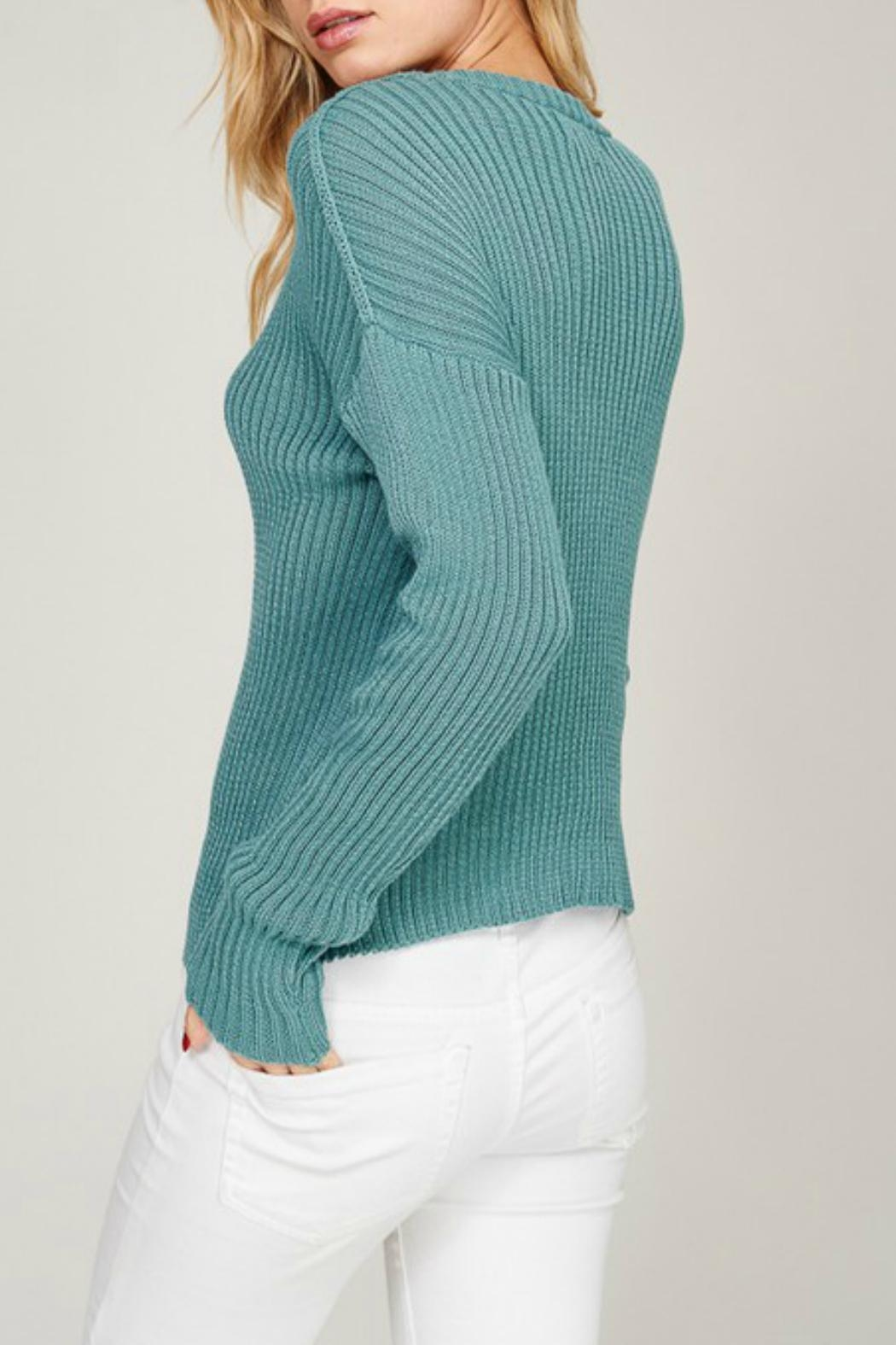 Listicle Blue Lace-Up Sweater - Back Cropped Image