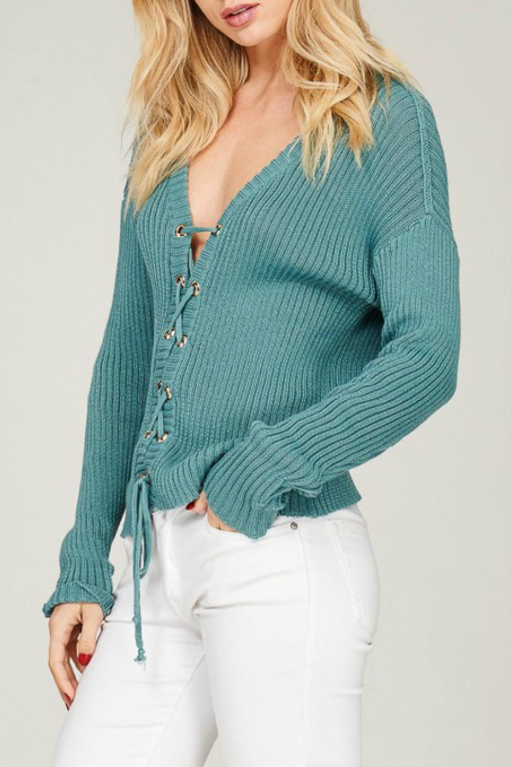Listicle Blue Lace-Up Sweater - Side Cropped Image