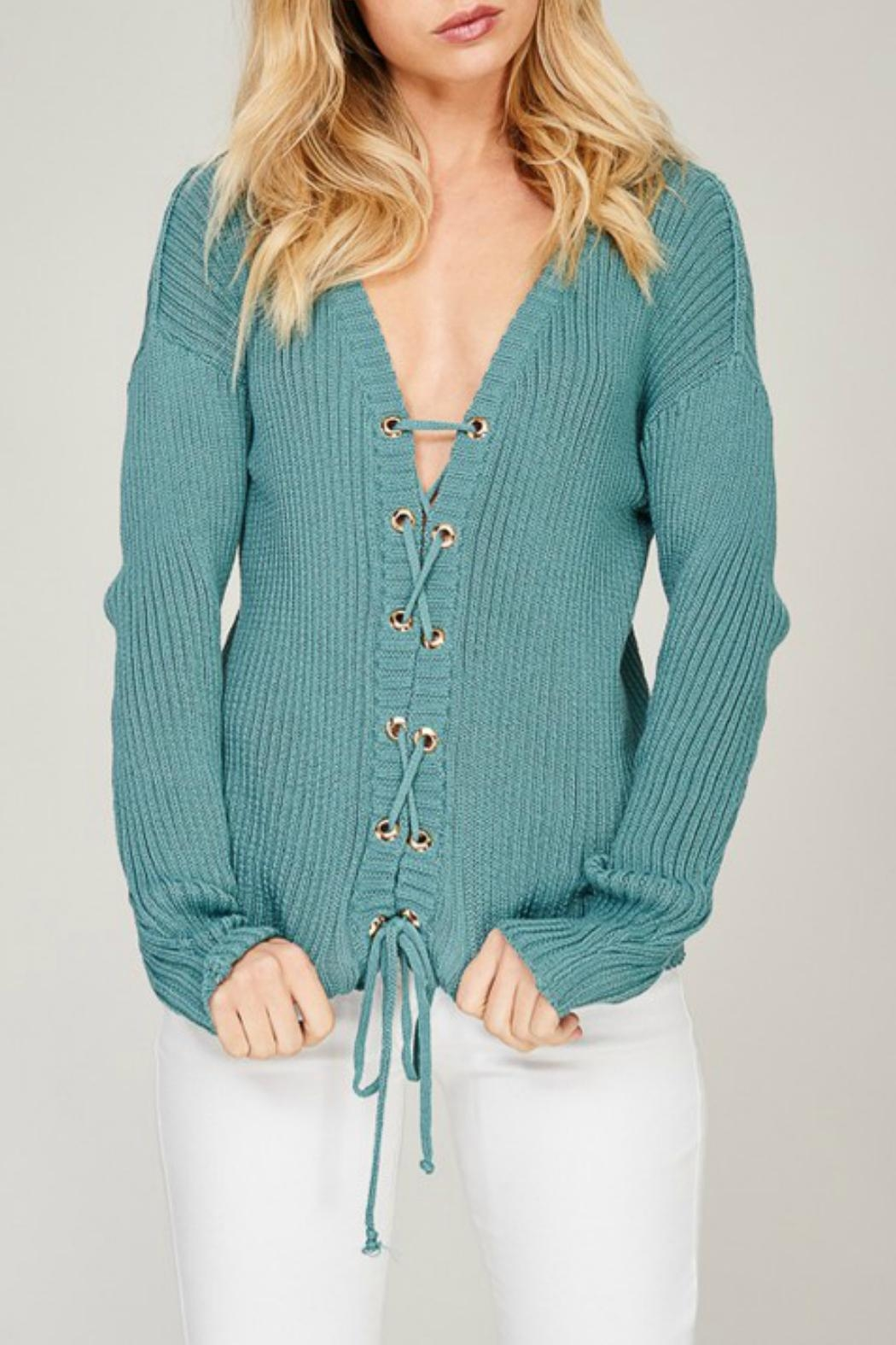 Listicle Blue Lace-Up Sweater - Front Full Image