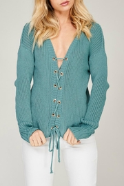 Listicle Blue Lace-Up Sweater - Front full body