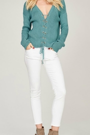 Listicle Blue Lace-Up Sweater - Other