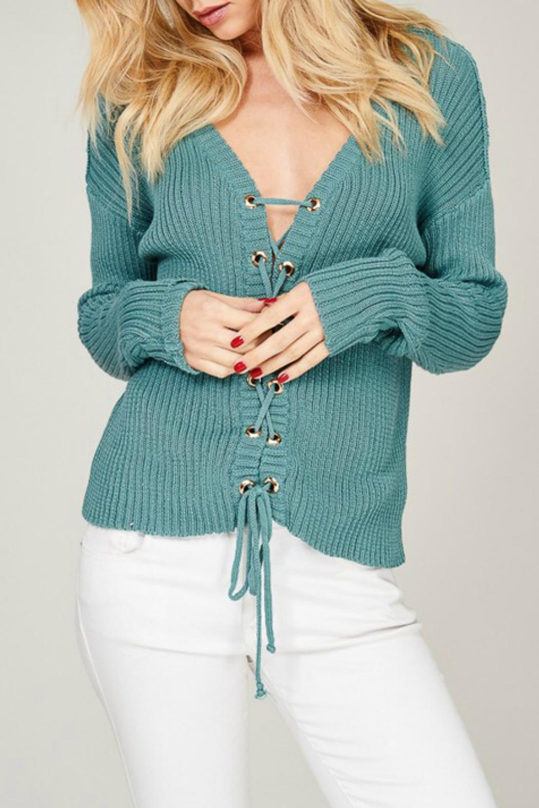 Listicle Blue Lace-Up Sweater - Main Image
